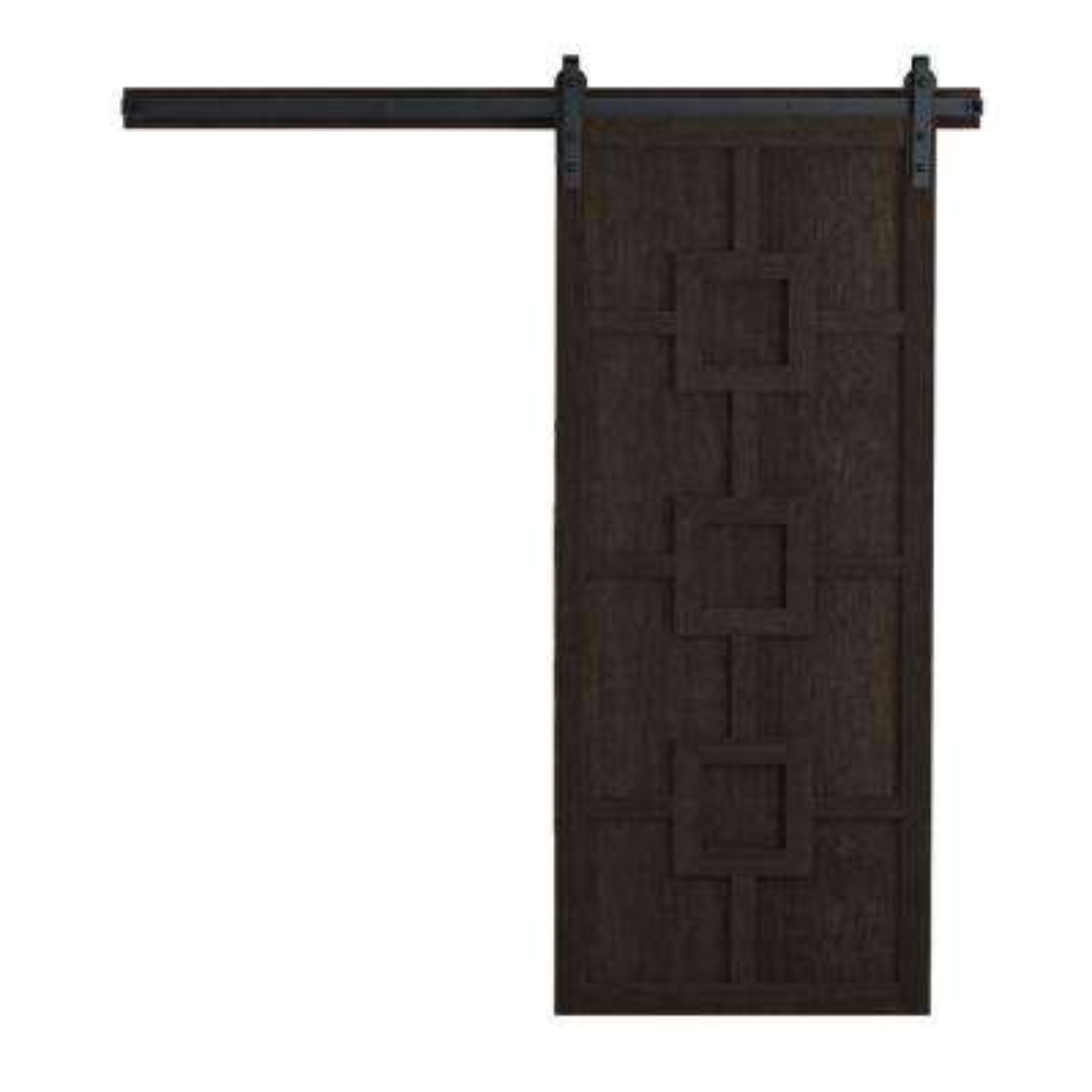 36 in. x 84 in. Mod Squad Midnight Wood Barn Door with Sliding Door Hardware Kit