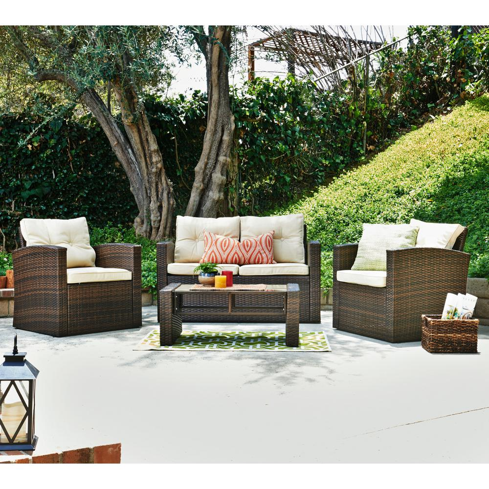 Su0027DENTE Roatan Dark Brown 4 Piece Wicker Patio Conversation Set With Beige  Cushions