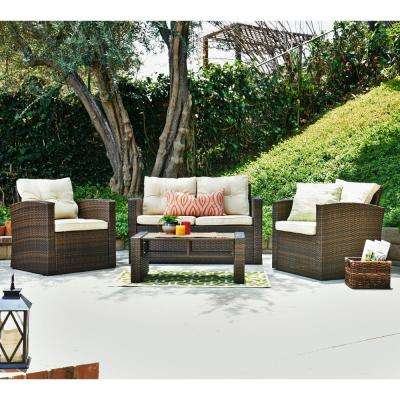 Roatan Dark Brown 4-Piece Wicker Patio Conversation Set with Beige Cushions