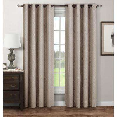 Semi-Opaque Stockholm Printed Cotton Extra Wide 96 in. L Grommet Curtain Panel Pair, Taupe (Set of 2)