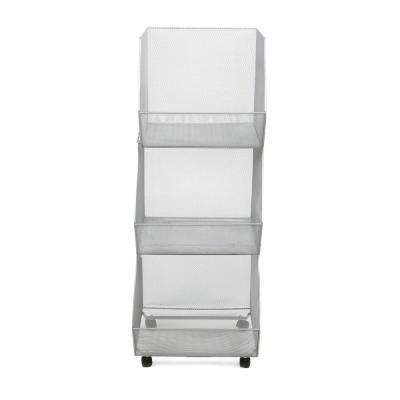 13.78 in. x 37.32 in. Silver Stackable Metal Mesh Storage Bins