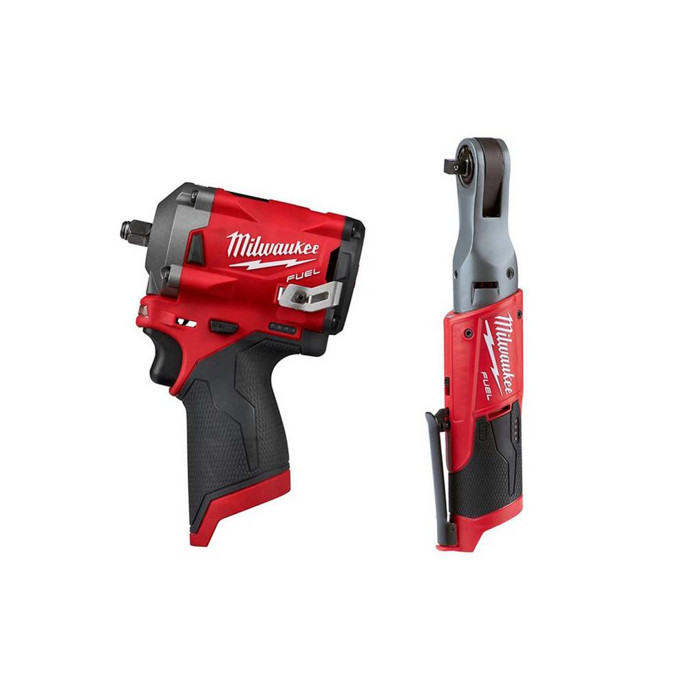 Milwaukee M12 FUEL 12-Volt Lithium-Ion Brushless Cordless Stubby 3/8 in. Impact Wrench and Ratchet Kit (Tool-Only Kit)