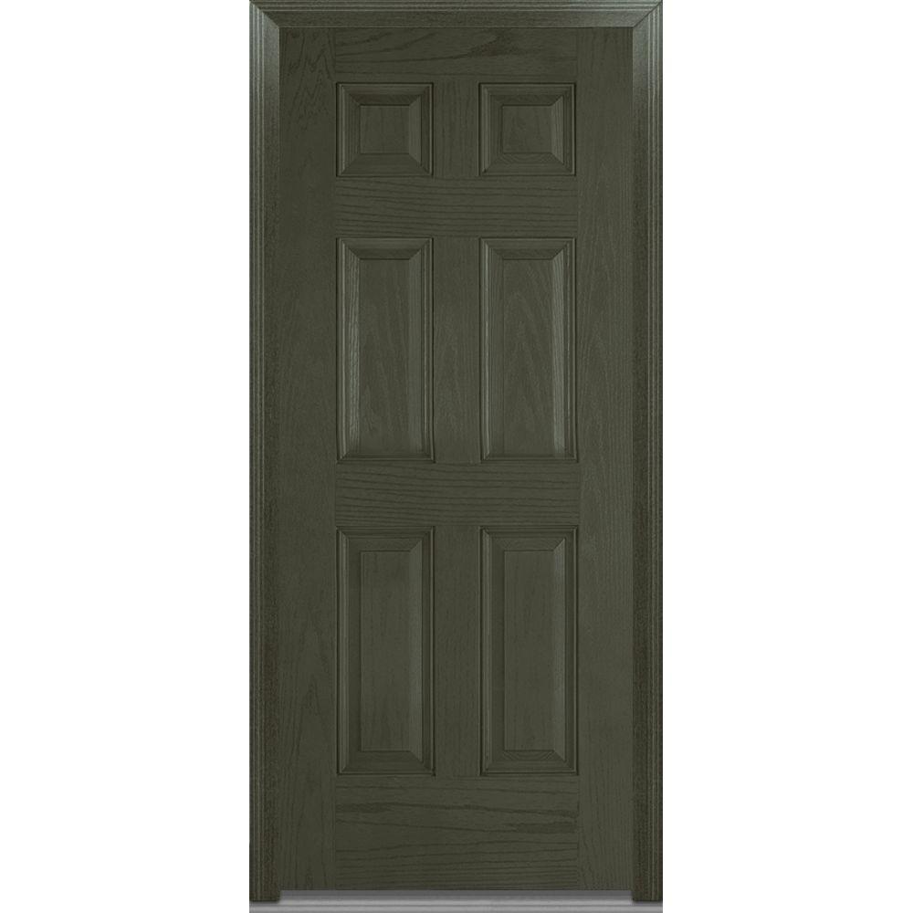 Mmi door 32 in x 80 in severe weather right hand outswing 6 panel stained fiberglass oak for Prehung outswing exterior door
