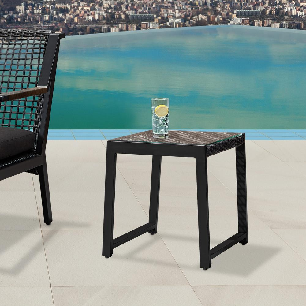 Calvin black powder coated aluminum outdoor side table 2 pack