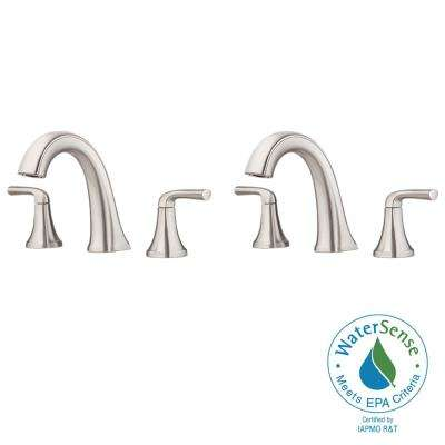 Ladera 8 in. Widespread 2-Handle Bathroom Faucet in Spot Defense Brushed Nickel (2-Pack)
