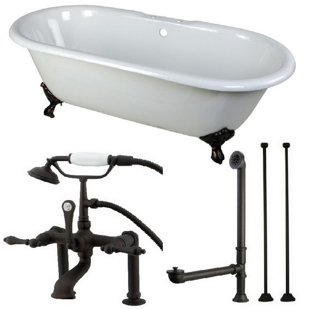 Aqua Eden Classic Double Ended 55 Ft Cast Iron Clawfoot Bathtub In
