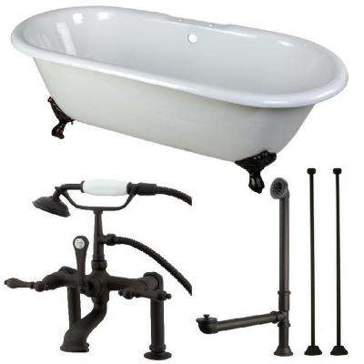 Classic Double Ended 66 in. Cast Iron Clawfoot Bathtub in White and Faucet Combo in Oil Rubbed Bronze