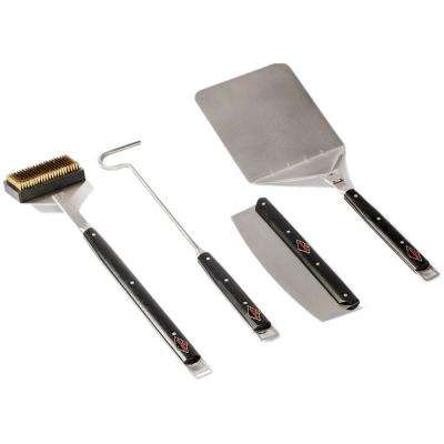 4-Piece Tool Kit With Wire Brush Poker Cutter and Spatula