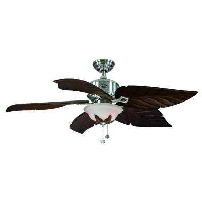 Antigua 56 in. Indoor Brushed Nickel Ceiling Fan with Light Kit