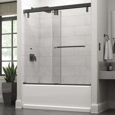 Simplicity 60 x 59-1/4 in. Frameless Mod Soft-Close Sliding Bathtub Door in Bronze with 3/8 in. (10mm) Clear Glass