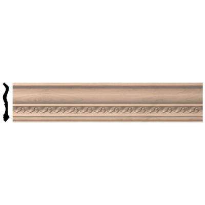3-1/2 in. x 96 in. x 3-5/8 in. Unfinished Wood Cherry Lanarkshire Carved Crown Moulding