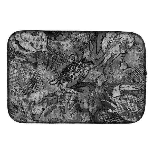 Caroline S Treasures 14 In X 21 In Multicolor Grey Canvas Abstract Crabs Dish Drying Mat 8953ddm The Home Depot