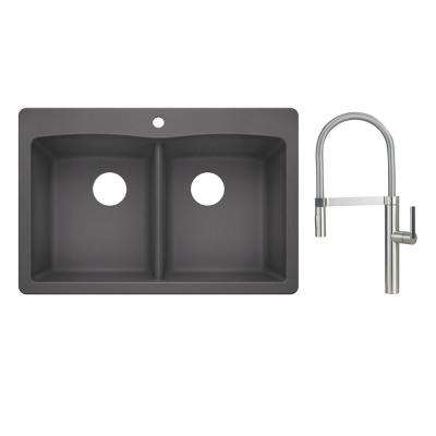 Diamond Dual-Mount Granite Composite II 33 in. 1-Hole 50/50 Double Bowl Kitchen Sink with Faucet in Satin Nickel