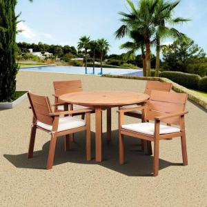 Amazonia Nelson 5-Piece Round Patio Dining Set with Striped Cushions by Amazonia