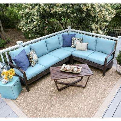 Augusta 5-Piece Wicker Outdoor Sectional Set with Blue Cushions