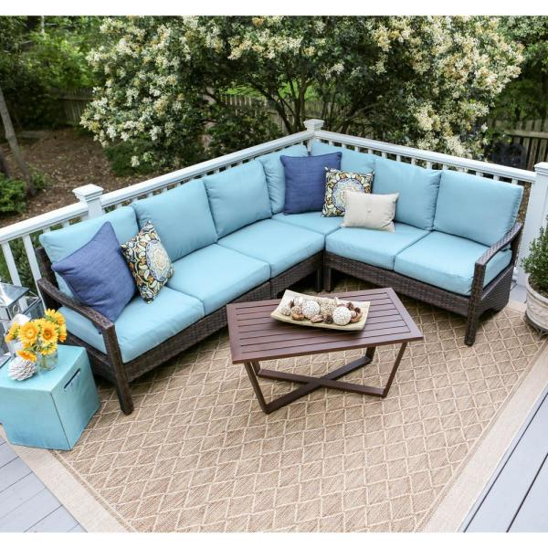 Leisure Made Augusta 5 Piece Wicker Outdoor Sectional Set With Blue Cushions 437409 Blu The Home Depot