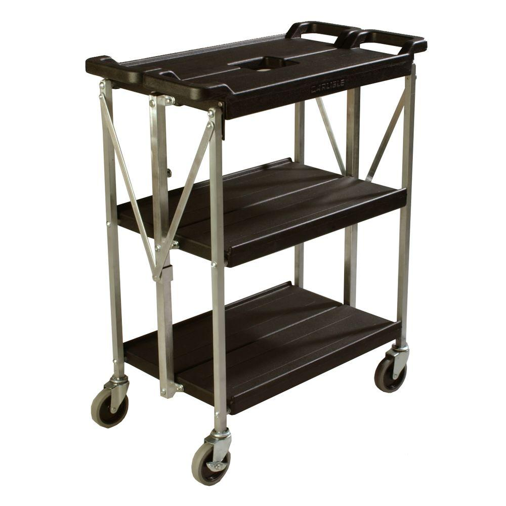 Carlisle Fold N Go Black Small Heavy Duty 3 Tier Collapsible Utility And