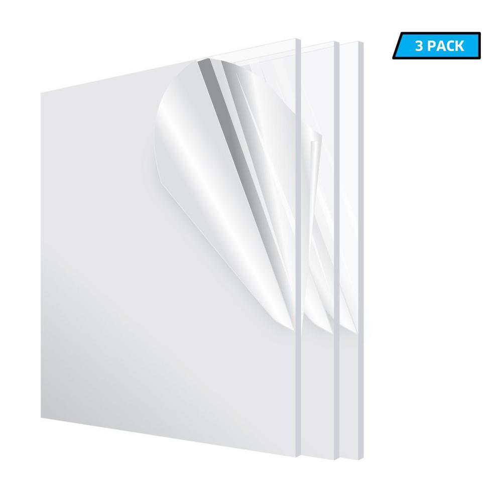 Adiroffice 12 In X 12 In X 1 8 In Clear Plexiglass Acrylic Sheet 3 Pack 1212 3 C The Home Depot