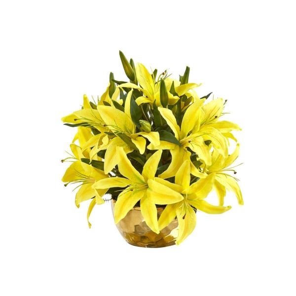 14 in. Lily Artificial Arrangement in Gold Vase