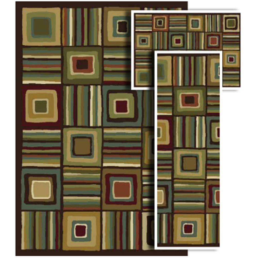Oriental Weavers Tao Crossroads Chocolate 4 ft. 11 in. x 7 ft. 3-Piece Rug Set-DISCONTINUED