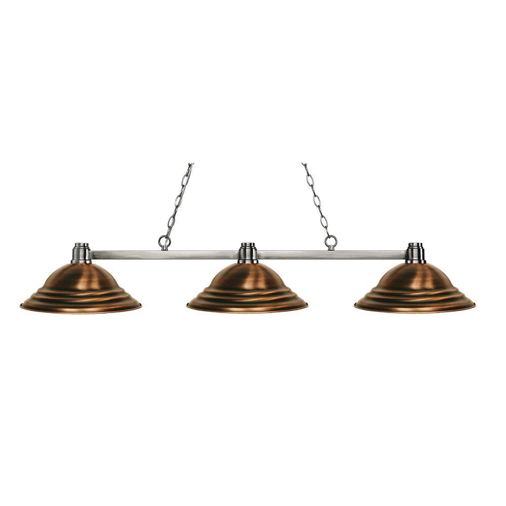 Peak 3 Light Brushed Nickel Billiard Light With Antique Copper Steel Shade