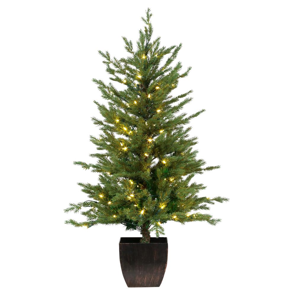 Pre-Lit Warm White LED Potted Artificial Christmas Tree (Set of 2)