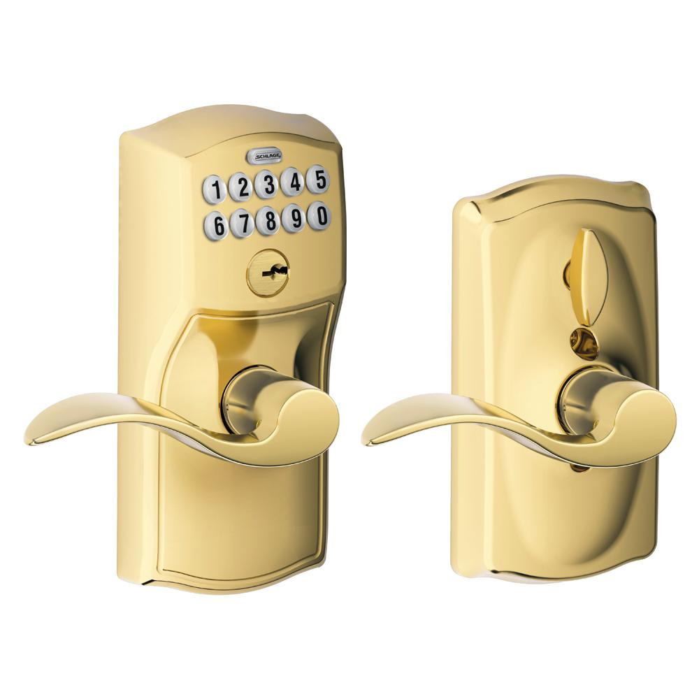 Schlage Accent Bright Brass Keypad Electronic Door Lever with Camelot Trim Featuring Flex Lock