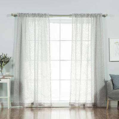 84 in. L Grey Branch Pattern Sheer Curtain Panel (2-Pack)