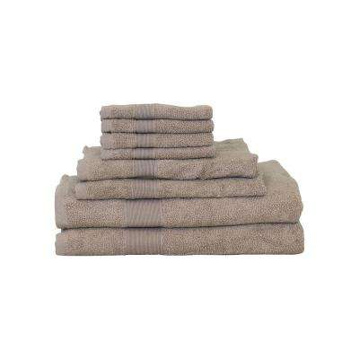Luxury 8-Piece Cotton Towel Set in Taupe