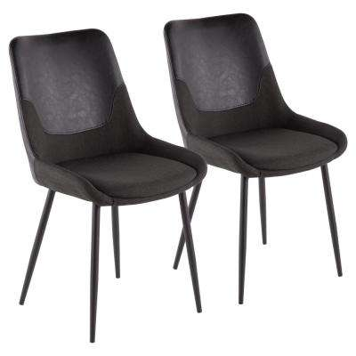 Wayne Industrial Two-Tone Chair in Grey Fabric with Black Faux Leather Accent (Set of 2)