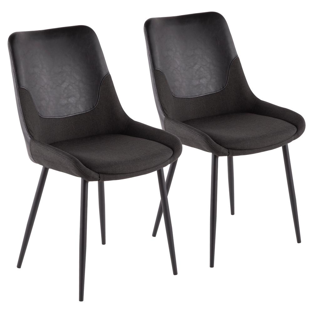 Lumisource Wayne Industrial Two Tone Chair In Grey Fabric With Black Faux  Leather Accent (