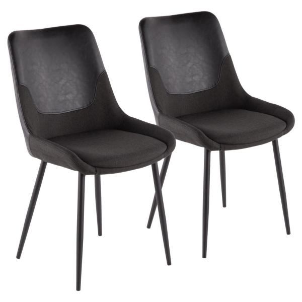 Lumisource Wayne Two Tone Chair In Grey Fabric With Black Faux Leather Accent