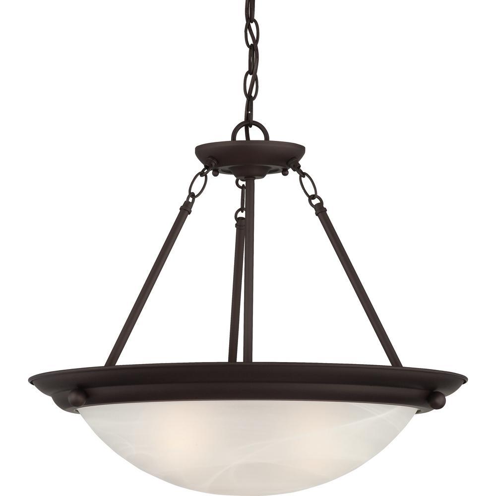 Lunar 3-Light Indoor Antique Bronze Convertible Hanging Pendant (Semi-Flush) with Alabaster Glass Bowl