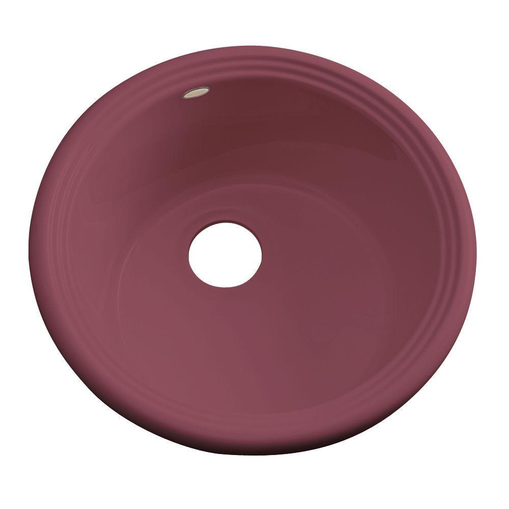 Thermocast Hampton Drop-In Acrylic 18 in. Single Bowl Entertainment Sink in Raspberry Puree