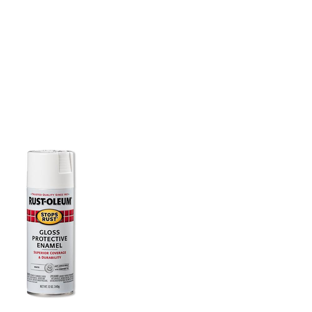 Rust-Oleum Stops Rust 12 oz. Protective Enamel Gloss White Spray Paint (6-Pack)