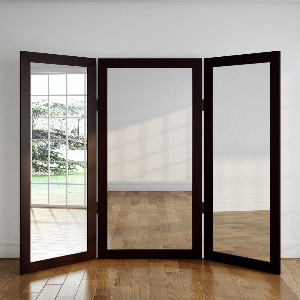 Full Body Dark Walnut Trifold Dressing Mirror-BM6TRIFOLD - The Home ...