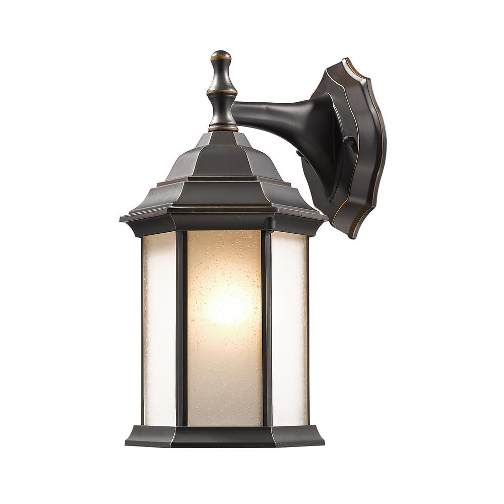 Maddox 1-Light Oil Rubbed Bronze Outdoor Wall Lantern with Seedy White