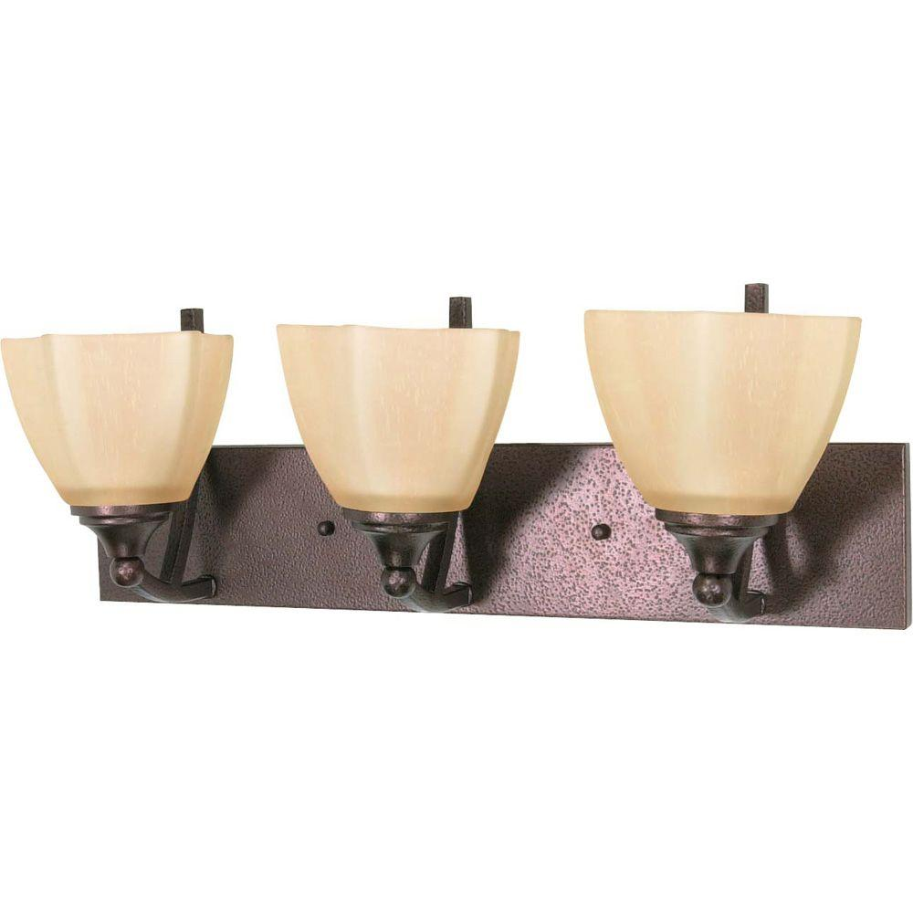 3-Light Copper Bronze Vanity Light with Champagne Linen Washed Glass