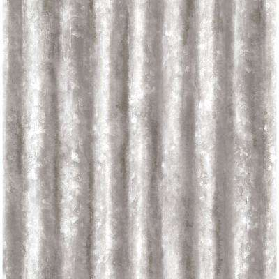 Silver Corrugated Metal Industrial Texture Wallpaper