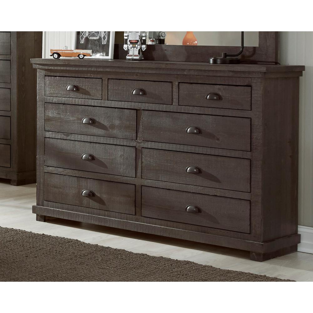 Willow 9-Drawer Distressed Dark Gray Dresser