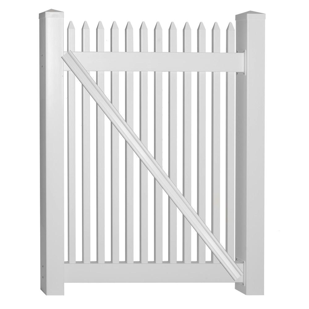 Hartford 4 ft. W x 4 ft. H White Vinyl Picket