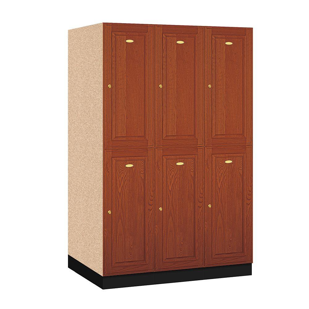 12000 Series Double Tier 24 in. D 6-Compartments Solid Oak Executive