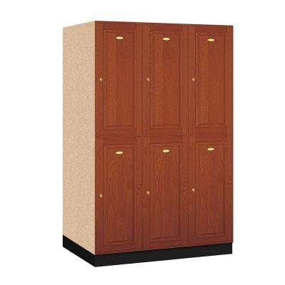 D 6 Compartments Solid Oak Executive Wood Locker