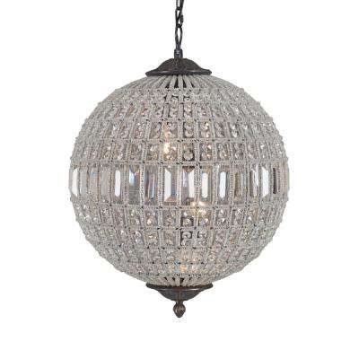 Collins Collection 3-Light Antique Black Chandelier with Crystal Shade
