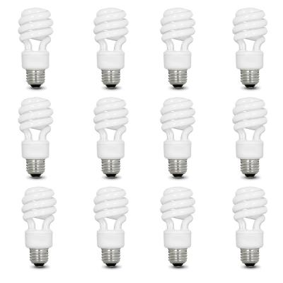 60-Watt Equivalent T3 Spiral Non-Dimmable E26 Base Compact Fluorescent CFL Light Bulb, Soft White 2700K (12-Pack)