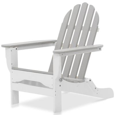 Icon White and Light Gray Plastic Folding Adirondack Chair