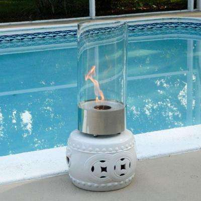 9 in. Tabletop Ethanol Cristallo Fireplace in Stainless and Clear