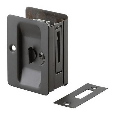 3-7/32 in. Black Pocket Door Pull with Privacy Lock