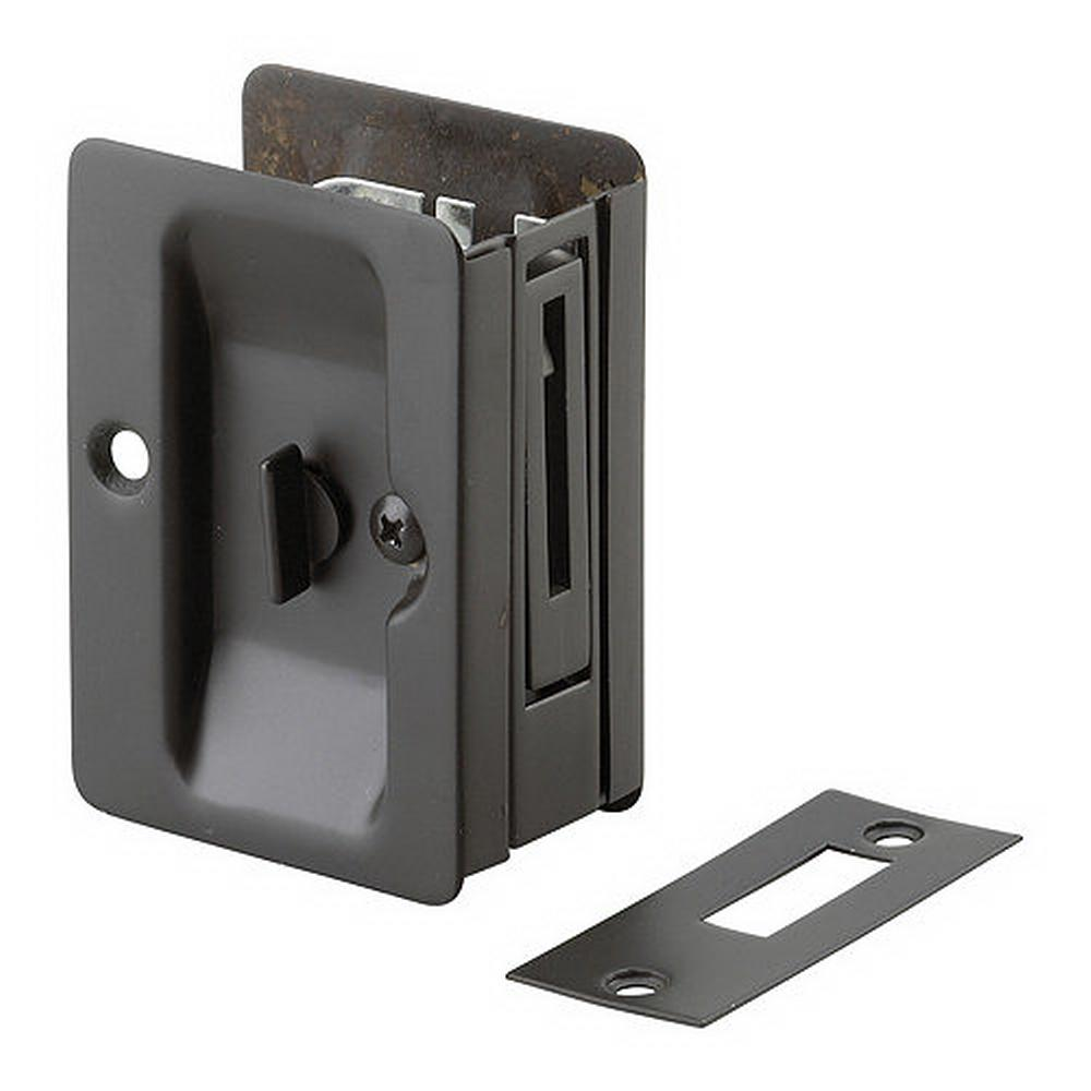Richelieu Hardware 3 7 32 In Black Pocket Door Pull With Privacy Lock