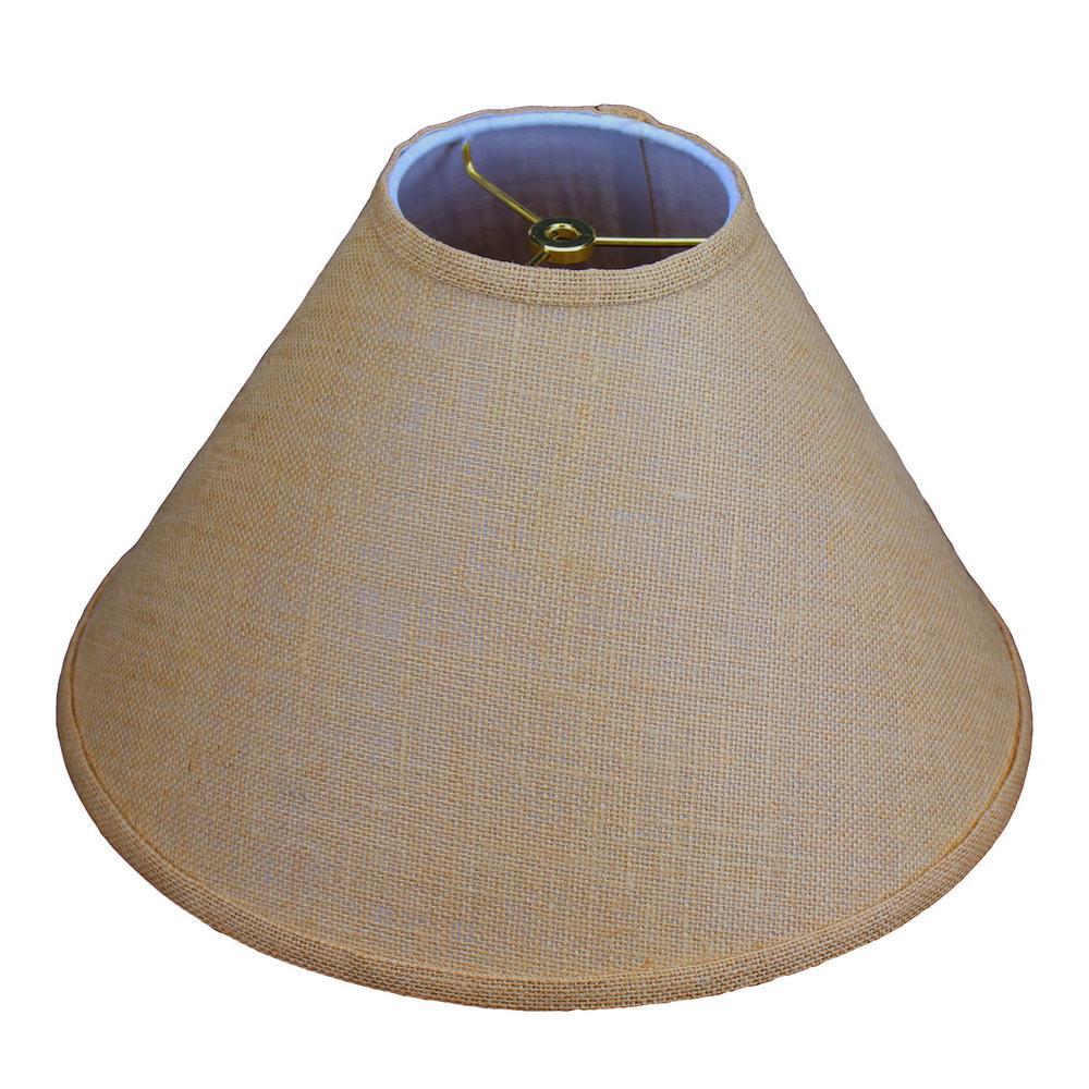 "Fenchel Shades 5"" Top Diameter x 15"" Bottom Diameter x 10"" Slant,  Coolie Lamp Shade - Burlap Natural"